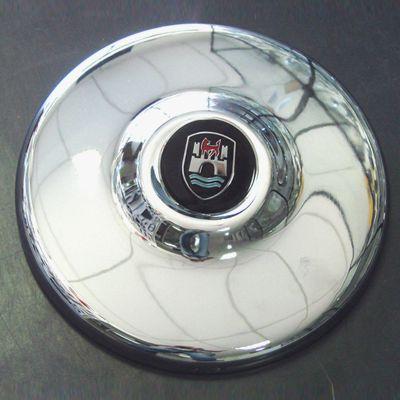 Calota cromada para roda 4 FUROS c/ emblema WOLFSBURG metal   - SSR Peças & Acessórios ltda ME.