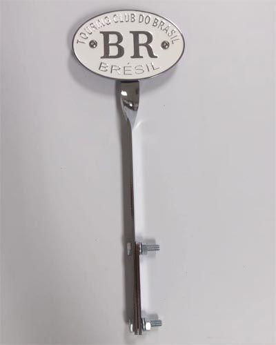 Emblema BRANCO BR touring club + suporte FUSCA até 1970  - SSR Peças & Acessórios ltda ME.