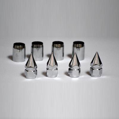Kit c/ 04 bicos cromado em metal mod. lança p/ válvula pneu   - SSR Peças & Acessórios ltda ME.