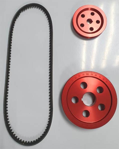 Kit polias alumínio vermelha MOTOR 1300/1500/1600 STANDER + correia   - SSR Peças & Acessórios ltda ME.