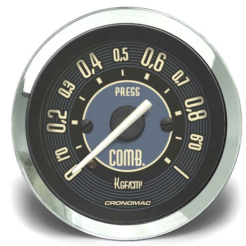 Manômetro Pressão Combustível 52mm CRONOMAC Mecânico 1kg VW Bege  - SSR Peças & Acessórios ltda ME.