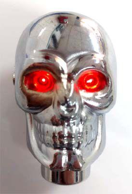 Manopla caveira cromada c/ LED acende os olhos  - SSR Peças & Acessórios ltda ME.