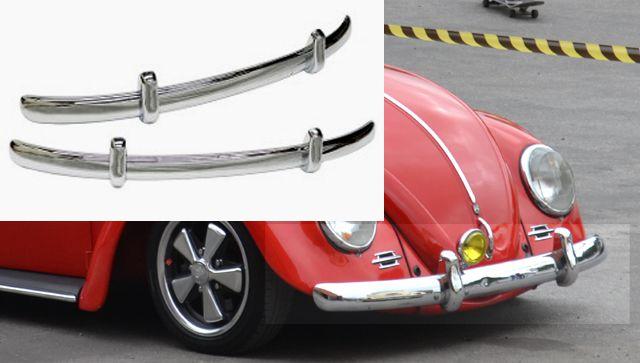 Par de lâminas cromadas c/ garras cromadas PARA-CHOQUE FUSCA até 1970 modelo EURO LOOK CAL LOOK   - SSR Peças & Acessórios ltda ME.