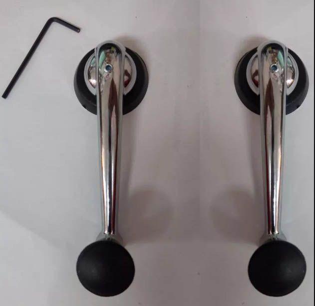 Par manivela cromada c/ botão preto fusca 71/96  - SSR Peças & Acessórios ltda ME.