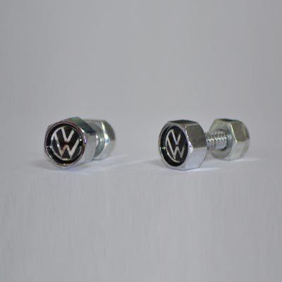 Par parafusos cromado p/ placa traseira do FUSCA c/ logo VW   - SSR Peças & Acessórios ltda ME.