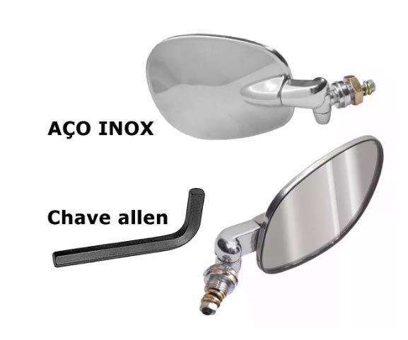 Par Retrovisor INOX metal raquete  + CHAVE ALLEN  - SSR Peças & Acessórios ltda ME.