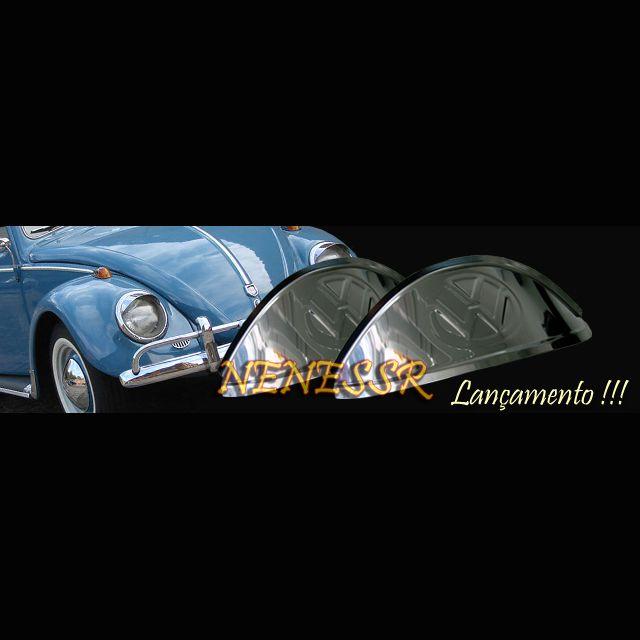 PAR Sobrancelhas para FAROL do FUSCA em aço inox com emblema VW  - SSR Peças & Acessórios ltda ME.