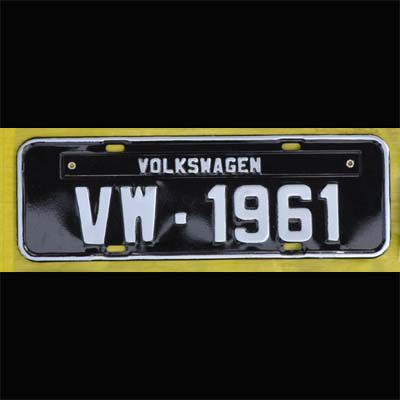 Placa PRETA decorativa Volkswagen VW - 1961  - SSR Peças & Acessórios ltda ME.