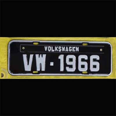 Placa PRETA decorativa Volkswagen VW - 1966  - SSR Peças & Acessórios ltda ME.