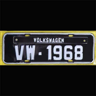 Placa PRETA decorativa Volkswagen VW - 1968   - SSR Peças & Acessórios ltda ME.