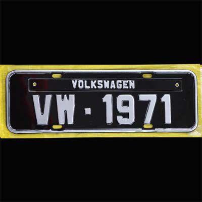 Placa PRETA decorativa Volkswagen VW - 1971  - SSR Peças & Acessórios ltda ME.