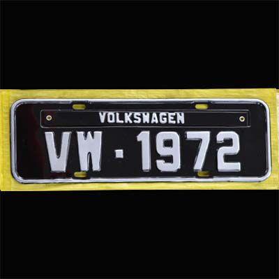 Placa PRETA decorativa Volkswagen VW - 1972  - SSR Peças & Acessórios ltda ME.