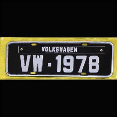 Placa PRETA decorativa Volkswagen VW - 1978  - SSR Peças & Acessórios ltda ME.