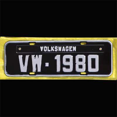Placa PRETA decorativa Volkswagen VW - 1980   - SSR Peças & Acessórios ltda ME.