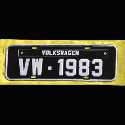 Placa PRETA decorativa Volkswagen VW - 1983   - SSR Peças & Acessórios ltda ME.