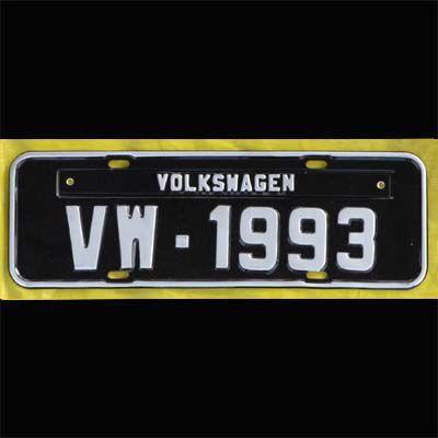 Placa PRETA decorativa Volkswagen VW - 1993   - SSR Peças & Acessórios ltda ME.