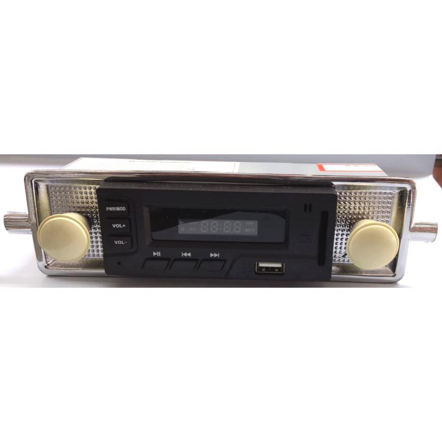 Radio FUSCA até 70 FM MP3 Cartão SD USB estilo retro (botões bege)  - SSR Peças & Acessórios ltda ME.