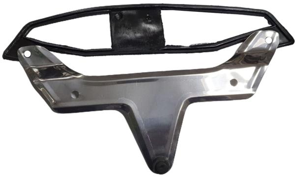Suporte placa INOX traseiro fusca 71/83 c/ guarnição  - SSR Peças & Acessórios ltda ME.