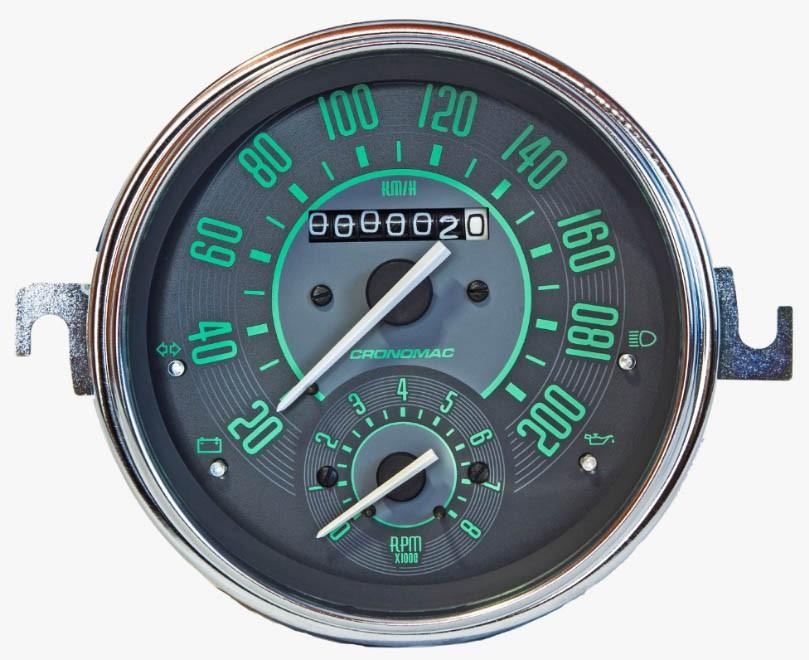 Velocímetro 110mm Mecânico 200kmh VW – Verde – Com Contagiros  - SSR Peças & Acessórios ltda ME.