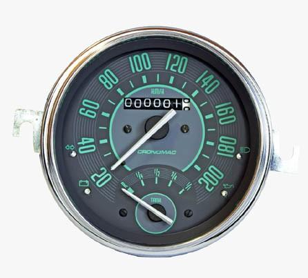 Velocímetro 110mm Mecânico 200kmh VW – Verde – Com Indicador de Combustível 123016VW  - SSR Peças & Acessórios ltda ME.