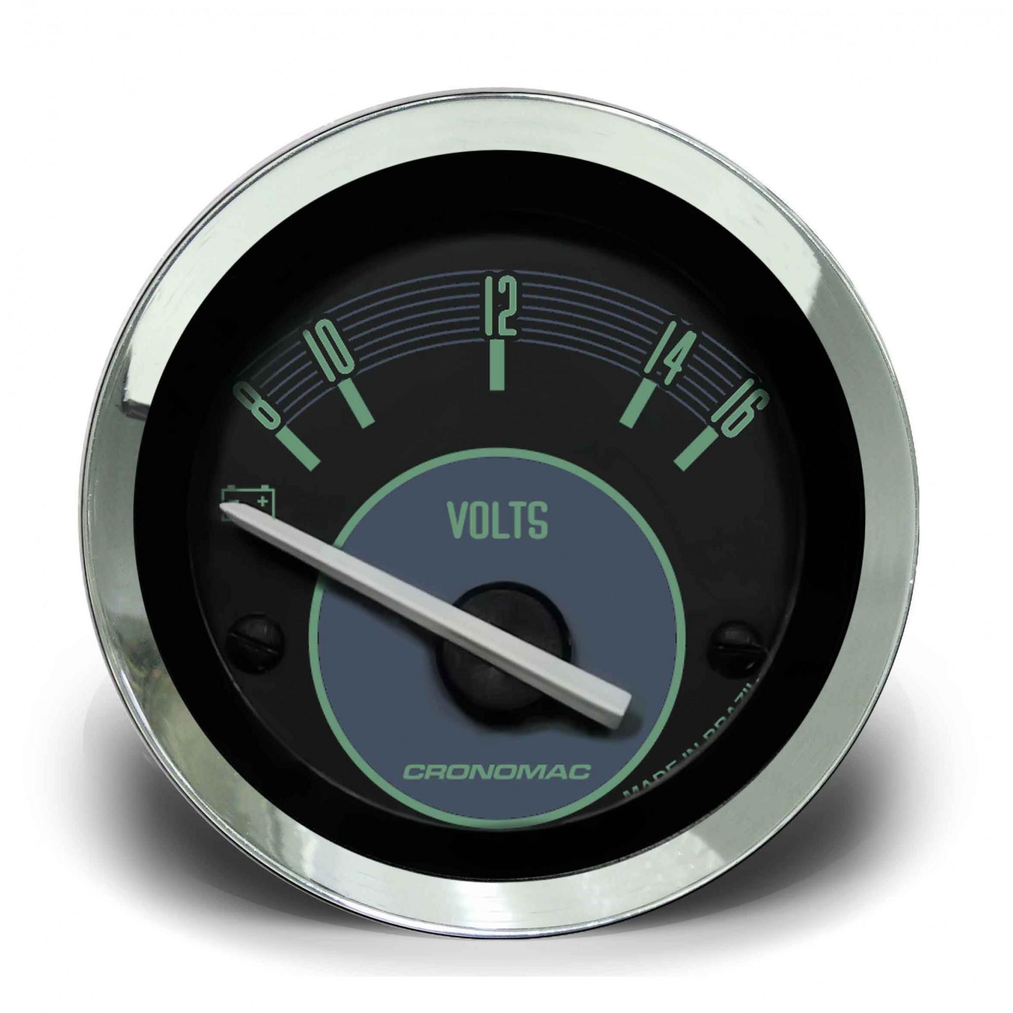 Voltímetro 52mm 12V VW – Verde  - SSR Peças & Acessórios ltda ME.