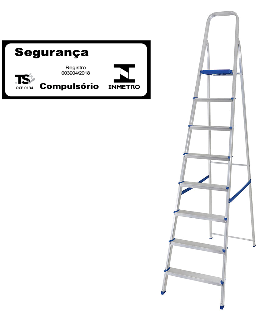 Escada doméstica de alumínio-Mor-08 Degraus