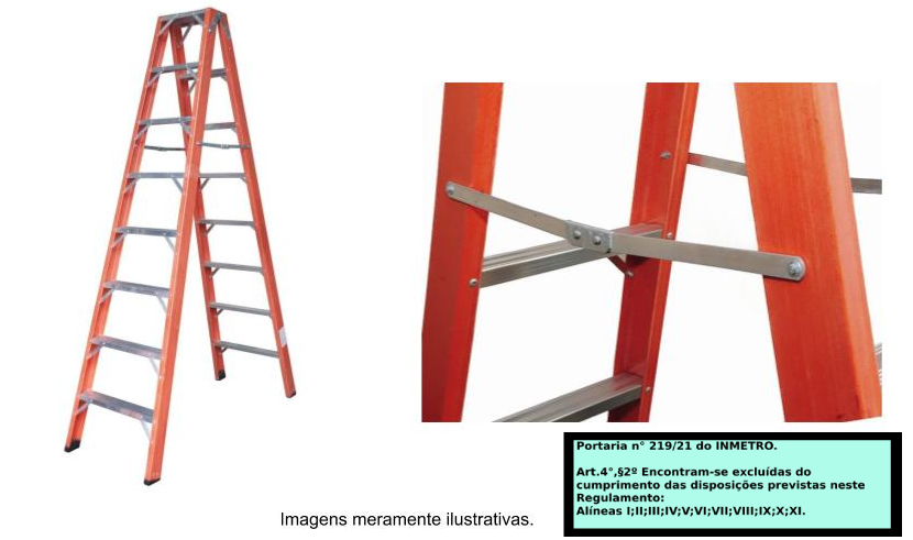 Escada Americana  pintor dupla em fibra de vidro 8 Degraus-2,40 metros