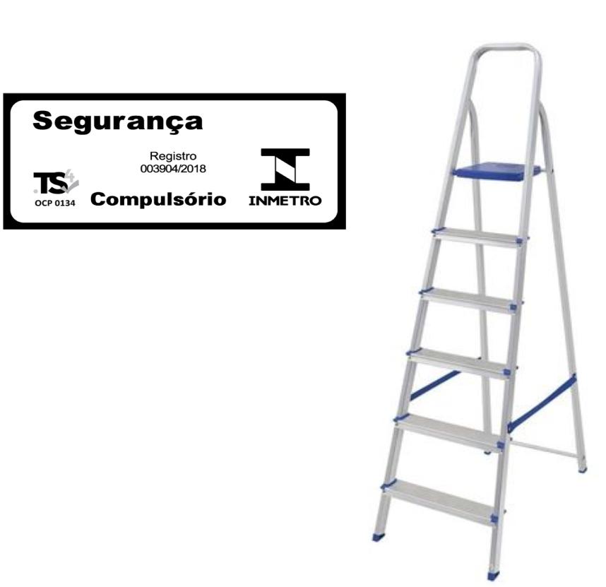Escada doméstica de alumínio-Mor-06 Degraus