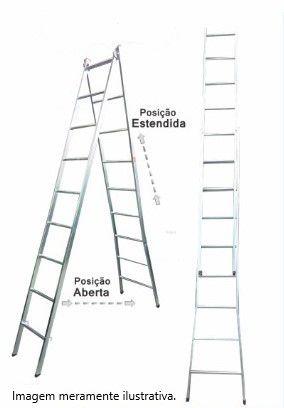 Escada Extensiva 2x1 em aço 7/14 Degraus-1,80x3,30 metros