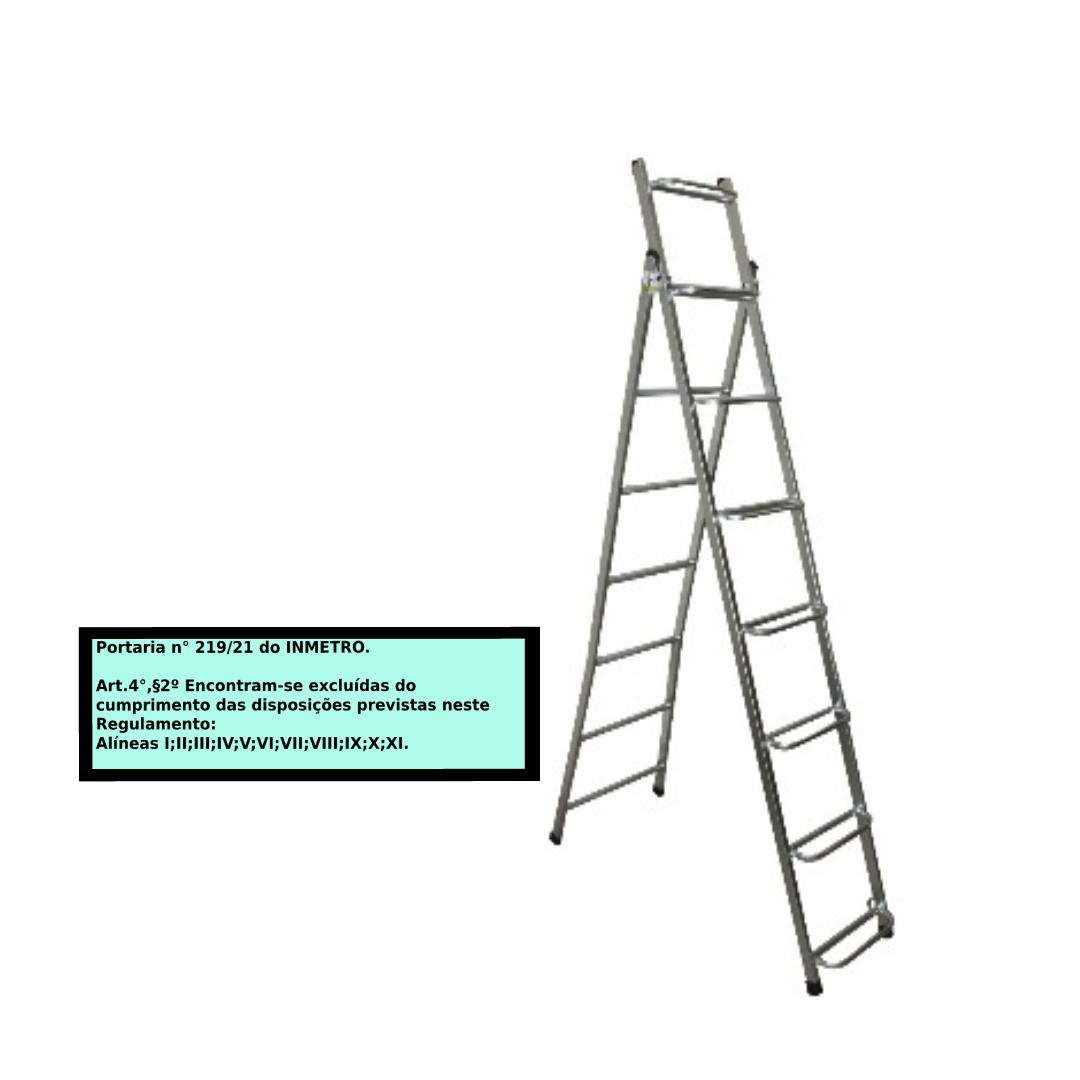 Escada Extensiva 2x1 em aço 8/15 Degraus-1,80x3,70 metros