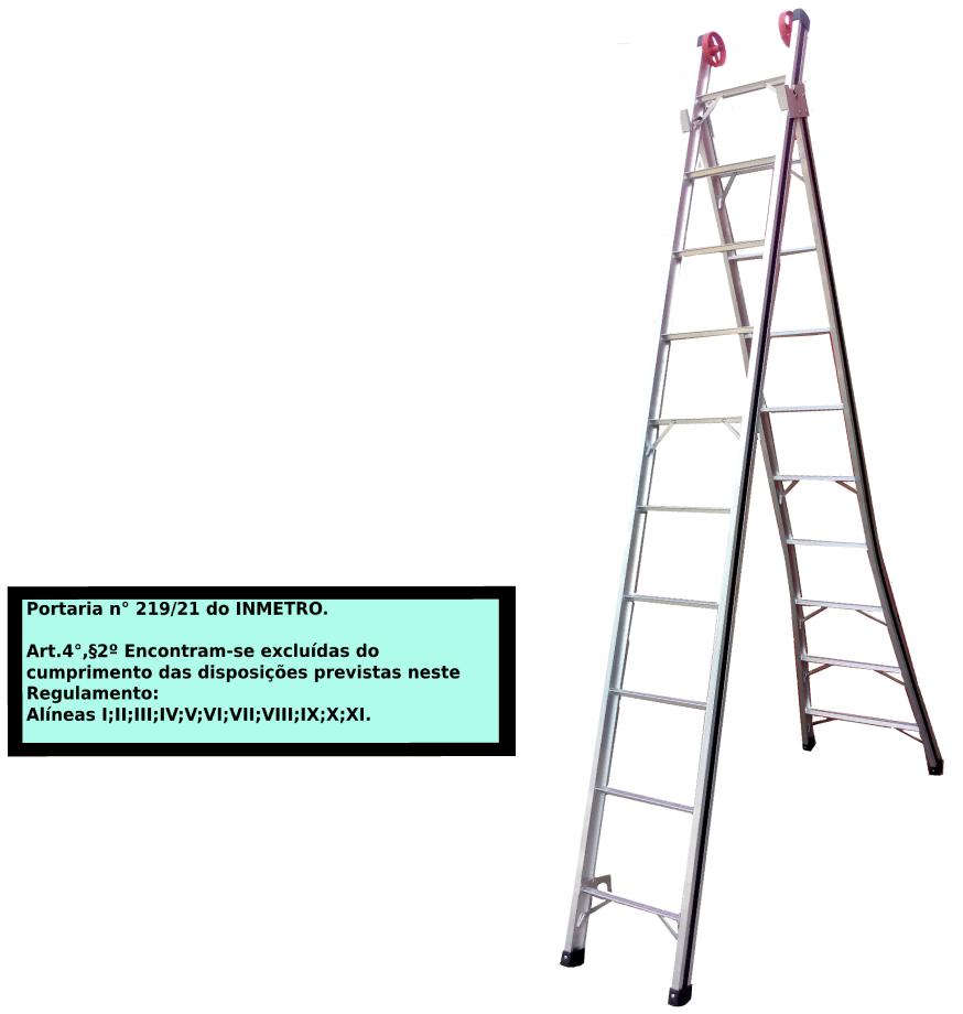 Escada Extensiva 3x1 em alumínio 10 Degraus