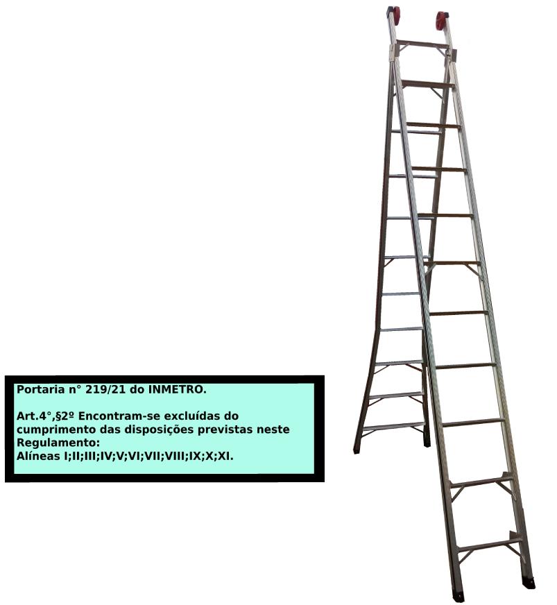 Escada Extensiva 3x1 em alumínio 11 Degraus