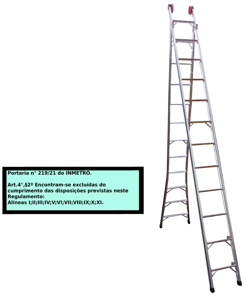 Escada Extensiva 3x1 em alumínio 12 Degraus