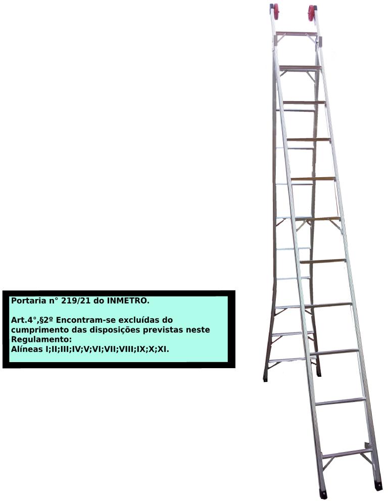 Escada Extensiva 3x1 em alumínio 13 Degraus