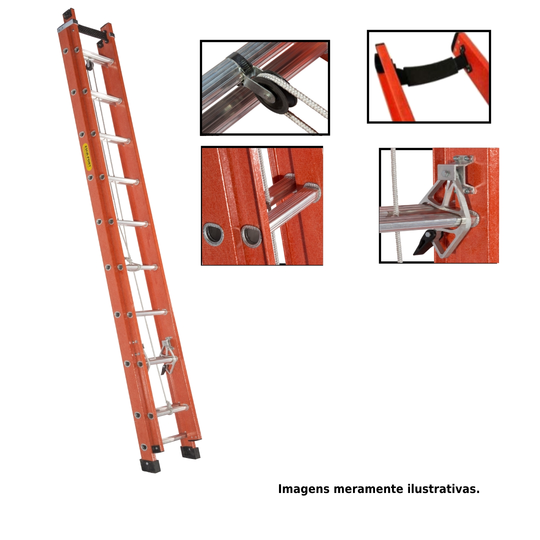 Escada extensiva em fibra de vidro perfil vazado-17/30 degraus-5,10x9,00 metros