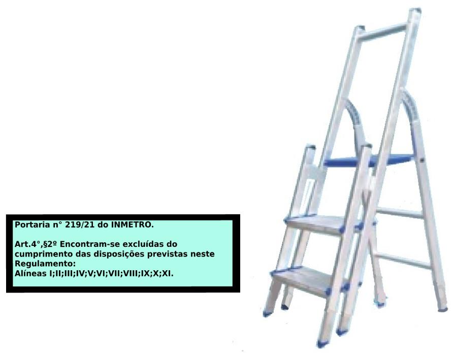 Escada Multiuso de alumínio com acesso alternado bilateral com degraus duplos-03 degraus