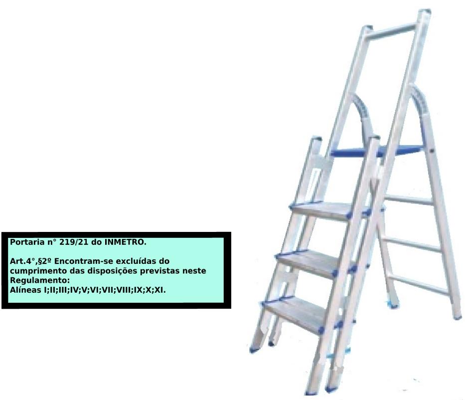 Escada Multiuso de alumínio com acesso alternado bilateral com degraus duplos-04 degraus