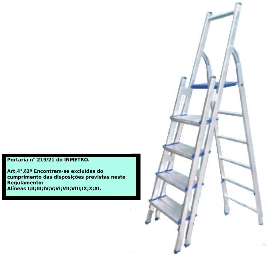 Escada Multiuso de alumínio com acesso alternado bilateral com degraus duplos-05 degraus