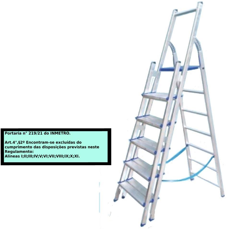 Escada Multiuso de alumínio com acesso alternado bilateral com degraus duplos-06 degraus