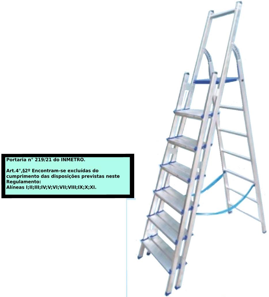 Escada Multiuso de alumínio com acesso alternado bilateral com degraus duplos-07 degraus