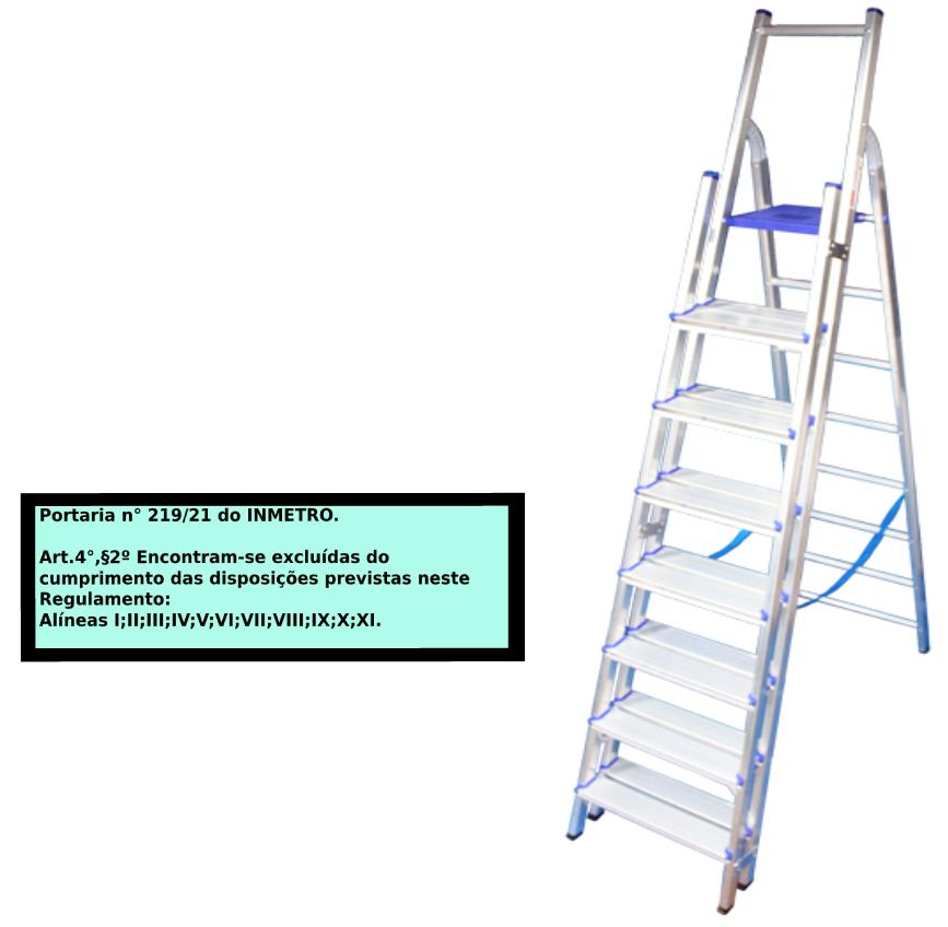 Escada Multiuso de alumínio com acesso alternado bilateral com degraus duplos-08 degraus