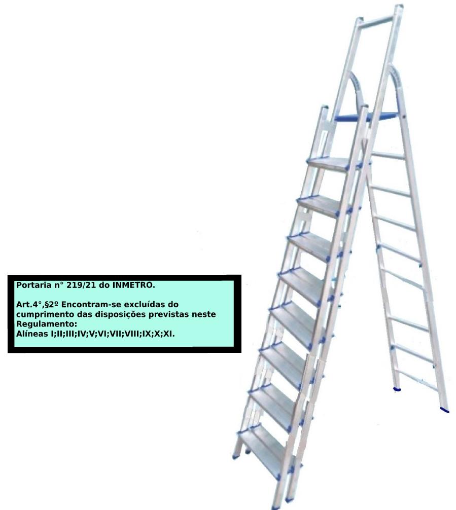 Escada Multiuso de alumínio com acesso alternado bilateral com degraus duplos-09 degraus