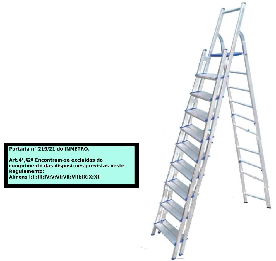 Escada Multiuso de alumínio com acesso alternado bilateral com degraus duplos-10 degraus