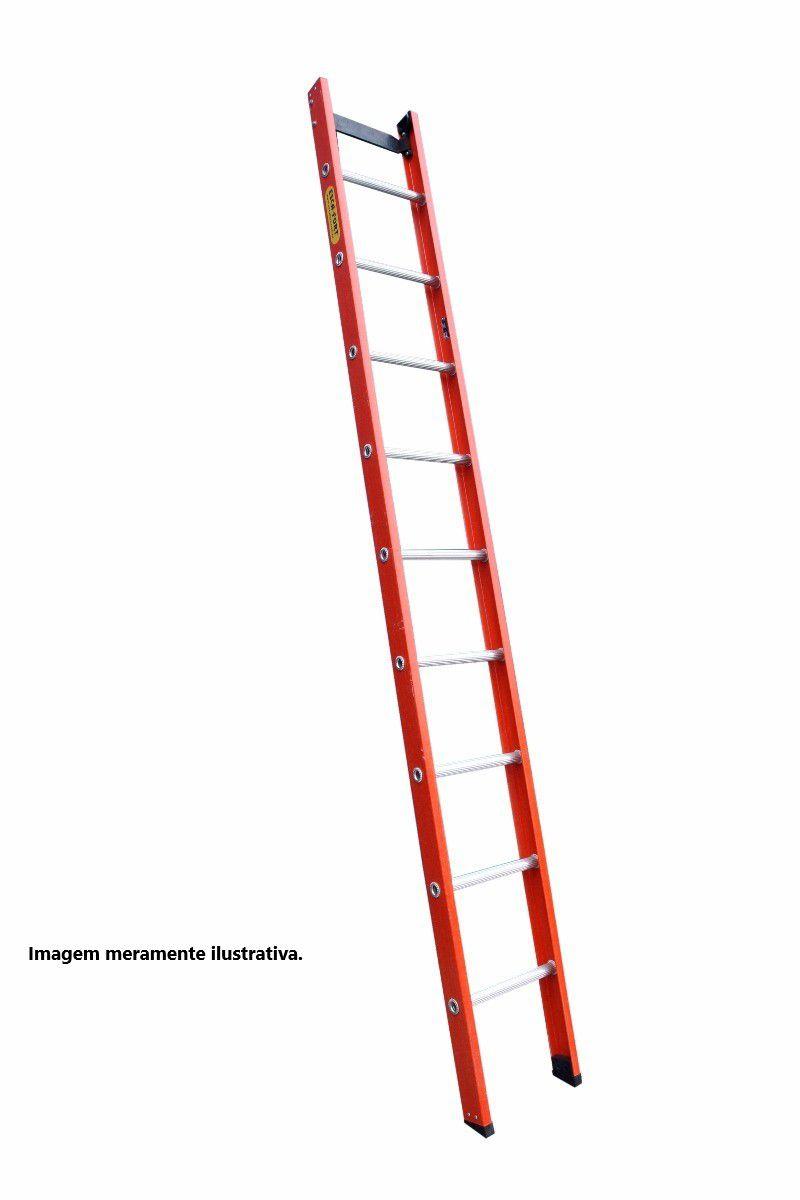 Escada singela em fibra de vidro 16 Degraus 5,10 metros