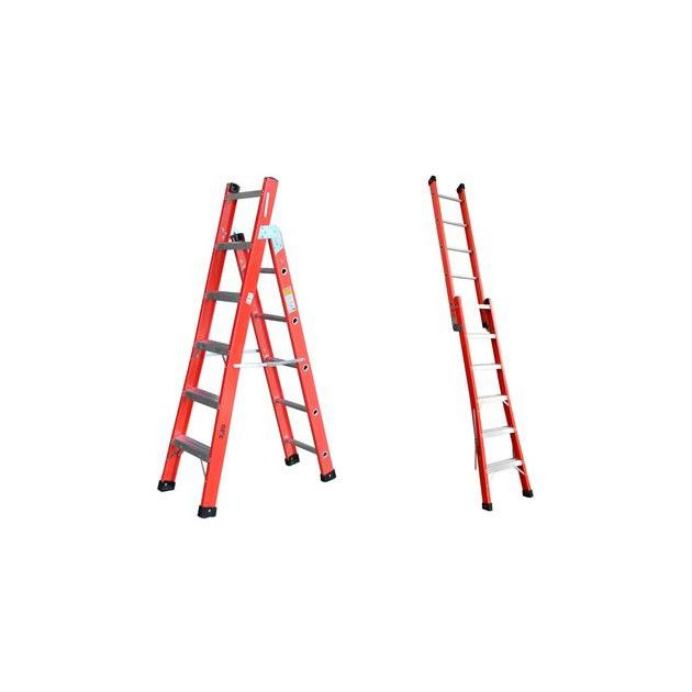 Escada tesoura e singela em fibra de vidro 06/09 Degraus-1,80x2,95 metros