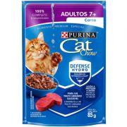 CAT CHOW ADULTOS 7+ CARNE AO MOLHO 85G