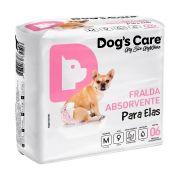 FRALDA HIGIÊNICA FÊMEA TAMANHO MÉDIO DOGS CARE 6/UND