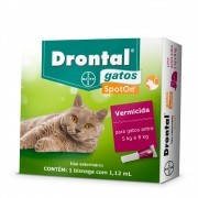 Vermifugo Drontal Spot On de 5 a 8 kg Para Gatos 1,12 ml