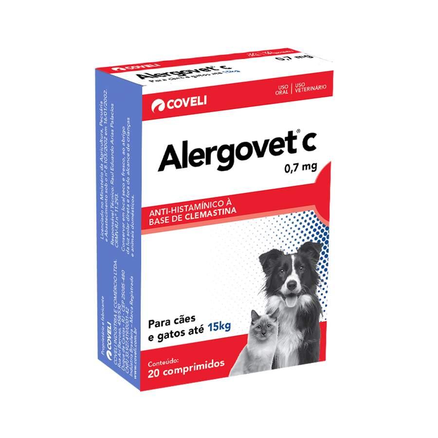 Anti-histamínico Alergovet C para Cães e Gatos 0,7mg 20 comprimidos Coveli