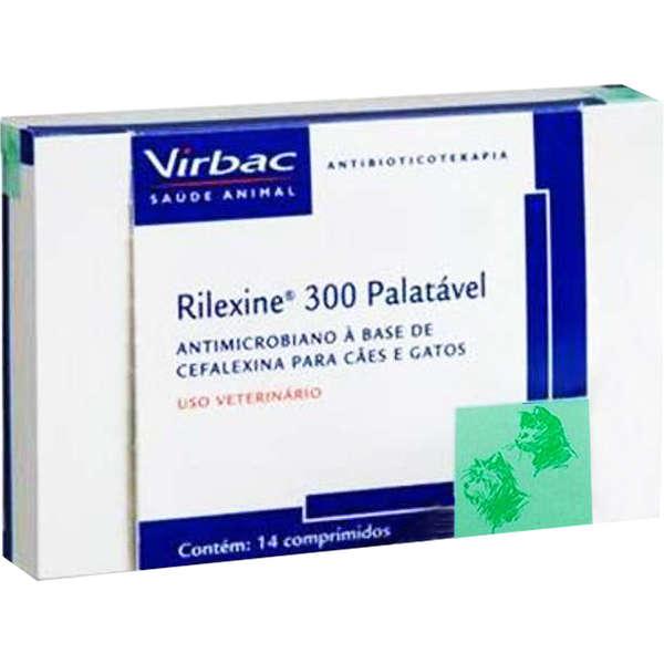 Antibiótico Virbac Rilexine Palatável para Cães e Gatos 300mg 14 Comprimidos